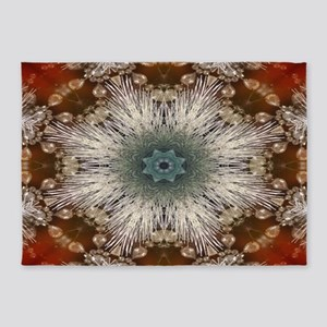 Christmas red silver snowflakes 5'x7'Area Rug