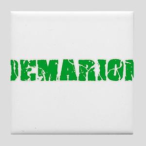 Demarion Name Weathered Green Design Tile Coaster