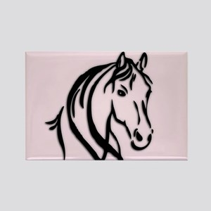 Black Horse Head on Pink Magnets