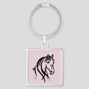 Black Horse Head on Pink Keychains