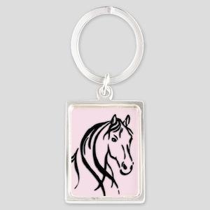 Black Horse Head on Pink Keychains