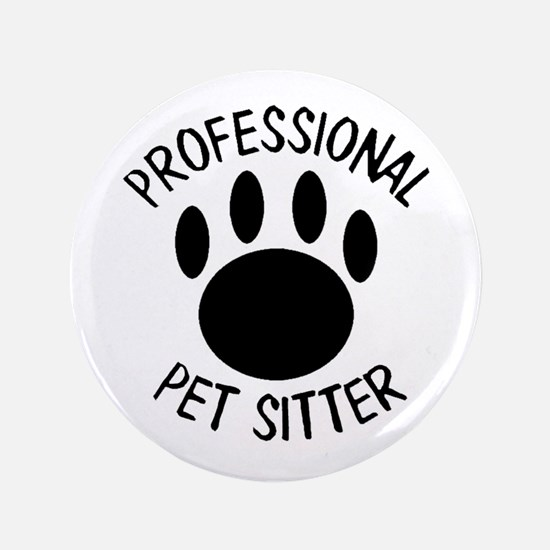 Professional Pet Sitter Paw Print Button