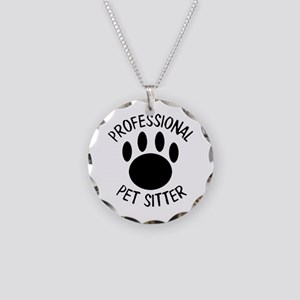 Professional Pet Sitter Paw Necklace Circle Charm