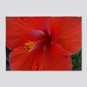 red hibiscus 5'x7'Area Rug