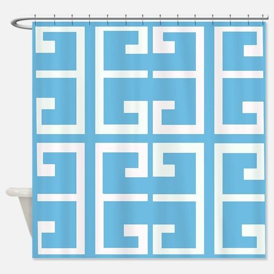 Light Blue Boy Tile Shower Curtain