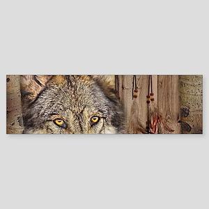 vintage Americana wild wolf Bumper Sticker