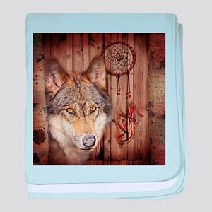 vintage Americana wild wolf baby blanket