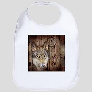 vintage Americana wild wolf Bib