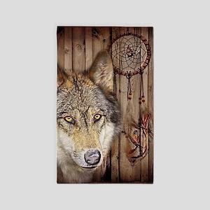 vintage Americana wild wolf Area Rug