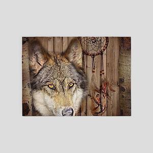 Vintage Americana Wild Wolf 5 X7 Area Rug