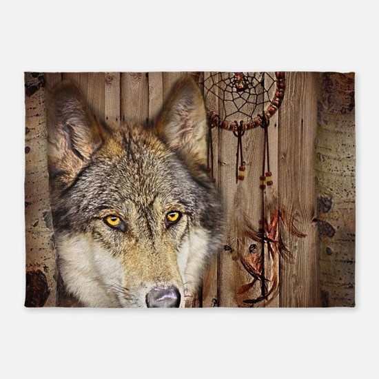 vintage Americana wild wolf 5'x7'Area Rug