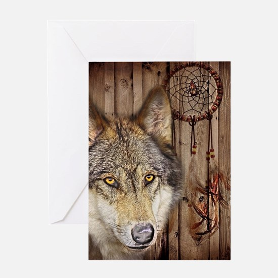 vintage Americana wild wolf Greeting Cards