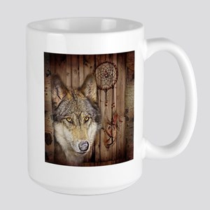 vintage Americana wild wolf Mugs