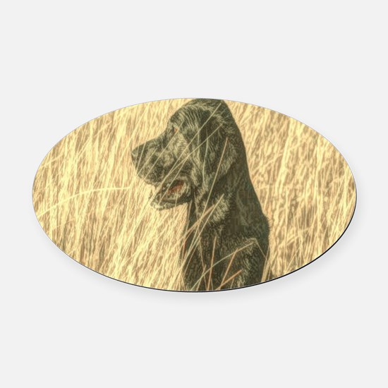 rustic country Labrador dog Oval Car Magnet