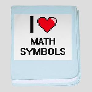 I Love Math Symbols baby blanket