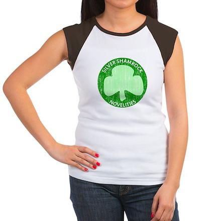 Silver Shamrock Womens Cap Sleeve T-Shirt