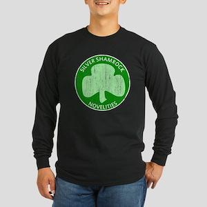 Silver Shamrock Long Sleeve Dark T-Shirt