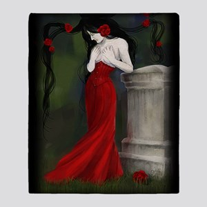 Red Roses In The Cemetery Throw Blanket