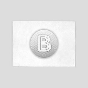 B Golf Ball - Monogram Golf Ball - 5'x7'Area Rug