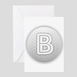 B Golf Ball - Monogram Golf Ball - Greeting Cards