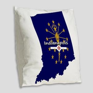 INDIANAPOLIS INDIANA FLAGS Burlap Throw Pillow
