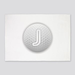 J Golf Ball - Monogram Golf Ball - 5'x7'Area Rug