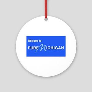 Welcome to Pure Michigan Round Ornament