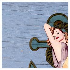 nautical vintage pin up girl Poster