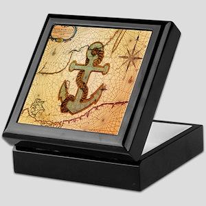 vintage nautical map anchor Keepsake Box