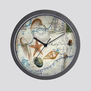 vintage nautical beach sea shells Wall Clock