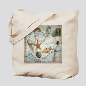 vintage nautical beach sea shells Tote Bag