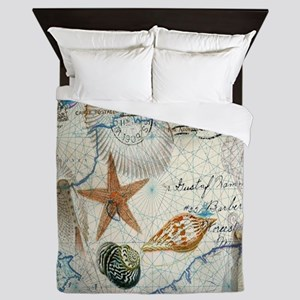 vintage nautical beach sea shells Queen Duvet