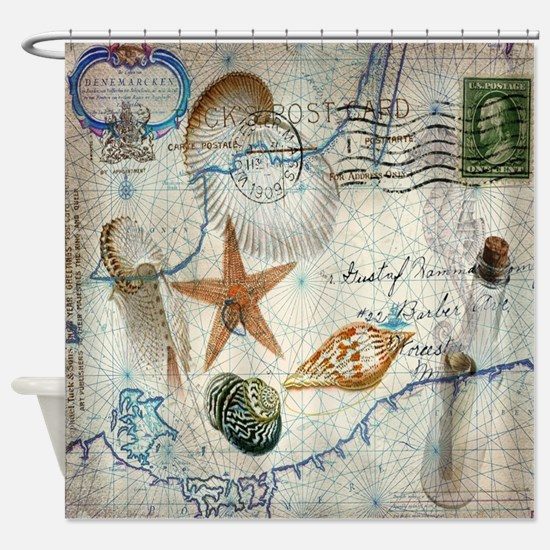 vintage nautical beach sea shells Shower Curtain