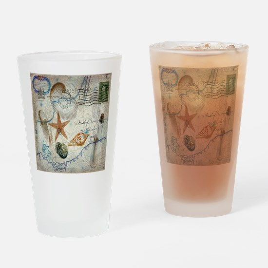 vintage nautical beach sea shells Drinking Glass