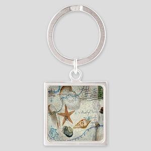 vintage nautical beach sea shells Square Keychain