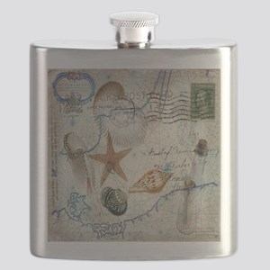 vintage nautical beach sea shells Flask