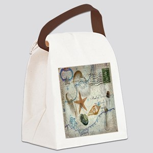 vintage nautical beach sea shells Canvas Lunch Bag