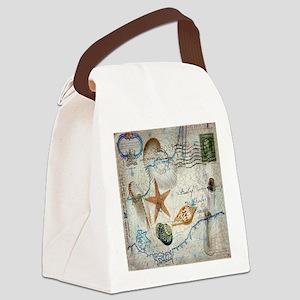 vintage nautical beach sea shells Canvas Lunch Bag