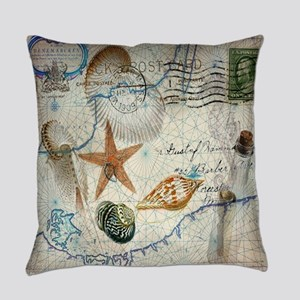 vintage nautical beach sea shells Everyday Pillow