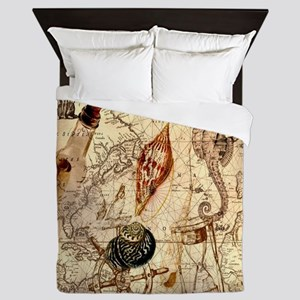 vintage nautical seashells sailor Queen Duvet