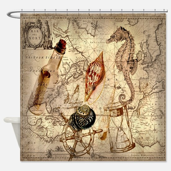 vintage nautical seashells sailor Shower Curtain