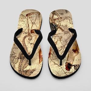 vintage nautical seashells sailor Flip Flops