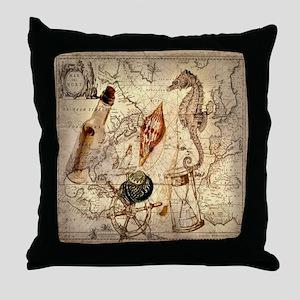 vintage nautical seashells sailor Throw Pillow