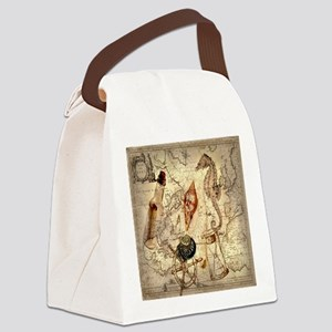 vintage nautical seashells sailor Canvas Lunch Bag