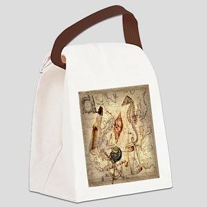 vintage nautical seashells sailor Canvas Lunch Bag