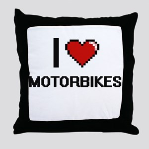 I Love Motorbikes Throw Pillow