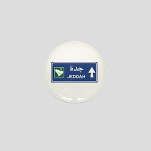 Jeddah Road Sign, Saudi Arabia Mini Button