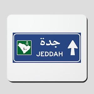 Jeddah Road Sign, Saudi Arabia Mousepad