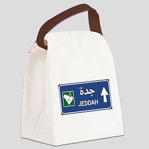 Jeddah Road Sign, Saudi Arabia Canvas Lunch Bag