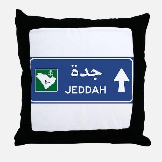 Jeddah Road Sign, Saudi Arabia Throw Pillow
